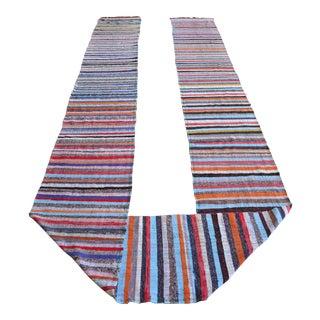 Vintage Handmade Ragrug Runner Rug Cotton Extra Extra Long Runner Stair Tread- 2′2″ × 34′ For Sale
