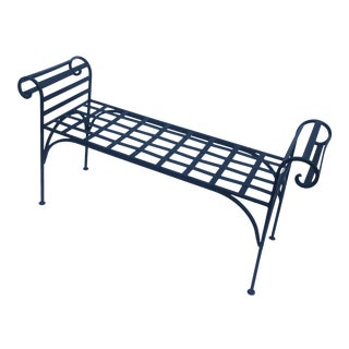 1990s Boho Chic Lattice Wrought Iron Backless Bench For Sale