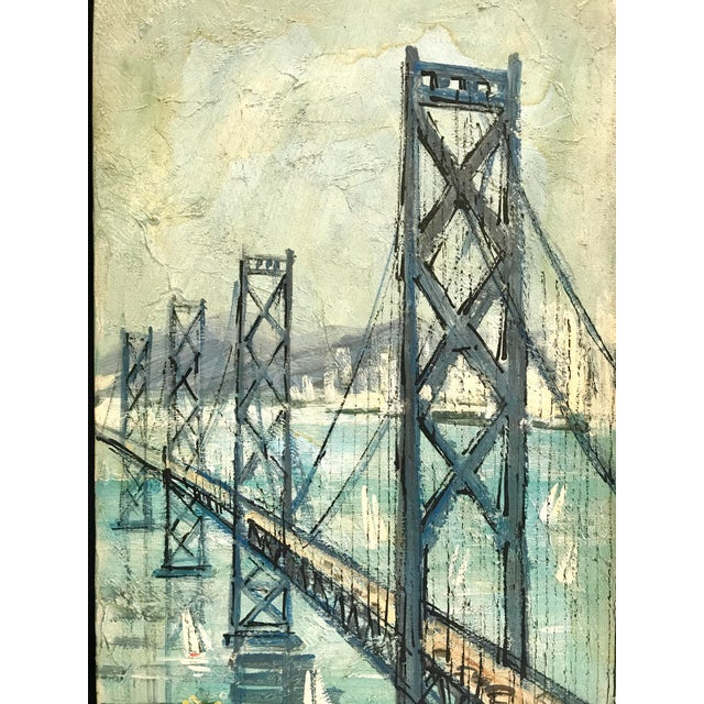 Impressionism San Francisco - Oakland Bay Bridge Oil on Board For Sale - Image 3 of 8