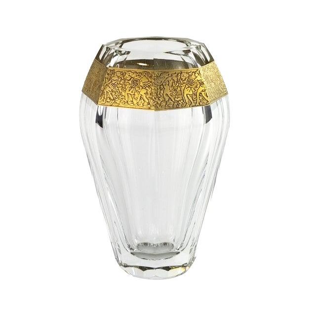 "Vintage Moser ""Diva"" Crystal Vase Gilded Band in a Classical Pattern For Sale - Image 10 of 10"