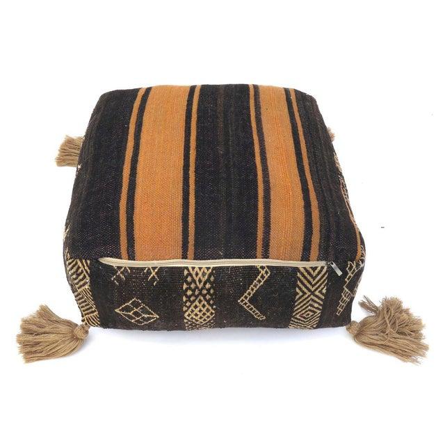 Vintage Black Moroccan Pouf For Sale - Image 9 of 11