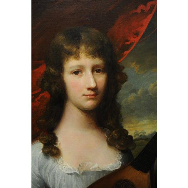 John Singleton Copley -Girl Playing the Lute-18th Century Oil Painting For Sale - Image 4 of 12
