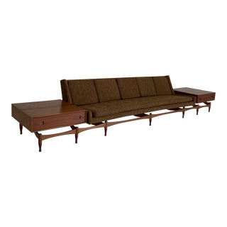 Mid Century Danish Teak Designer Sofa With Detachable End Tables For Sale