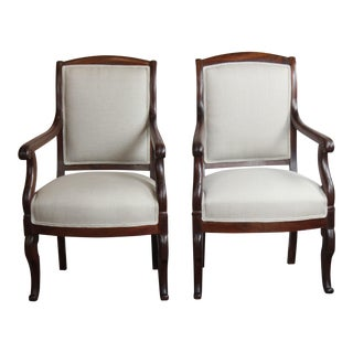19th Century Antique French Arm Chairs - Set of 2 For Sale