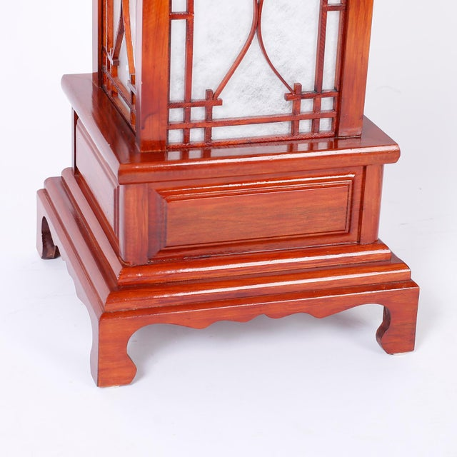 Wood Large Pagoda Table Lamps - A Pair For Sale - Image 7 of 9