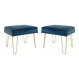 Montage Petite Brass Hairpin Ottomans in Teal Velvet - Pair For Sale