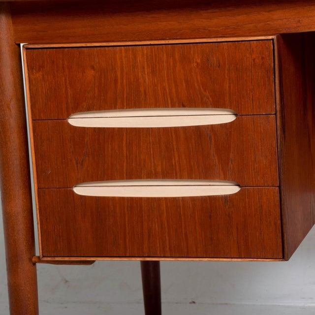 Hans Wegner Mid-Century Danish Modern Koford Larsen Era Teak Receiving Desk Bookshelf For Sale - Image 4 of 11