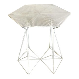 French Perforate White Table in the Style of Mathieu Mategot