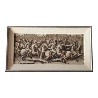 Early 20th Century Antique Medieval Battle Black and White Engraving Print For Sale
