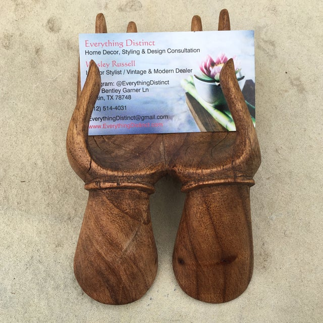 Beautiful Carved Wooden Hands business card holder in excellent condition. Perfect size to hold any business card style....