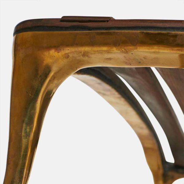 Brass Daybed in Brass and Walnut by Valentin Loellmann For Sale - Image 7 of 9