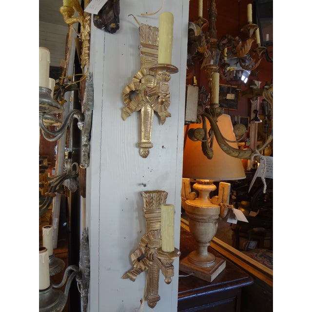 Giltwood Pair of French Gilt Wood Sconces For Sale - Image 7 of 8