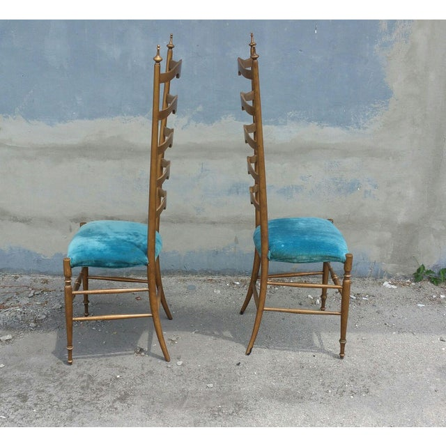 1950's Italian Exaggerated Ladder Back Chairs - a Pair For Sale In Miami - Image 6 of 7