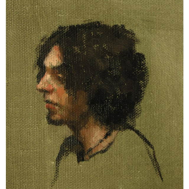 """Wood Rubino Oil Painting """"Portrait of a Young Gentleman"""", Contemporary Portrait For Sale - Image 7 of 7"""