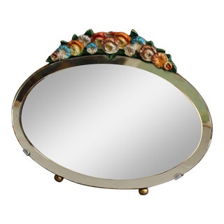 1930's English Barbola Table Beveled Mirror