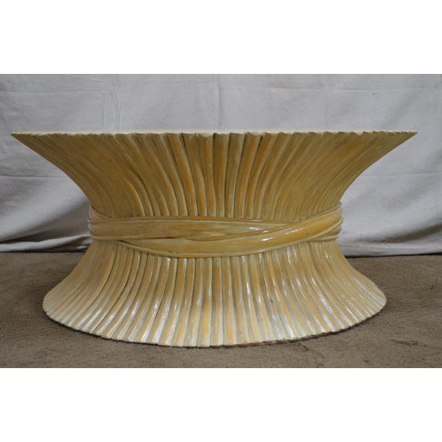 McGuire Style Mid Century Modern Round Wheat Sheaf Rattan Coffee Table - Image 3 of 13