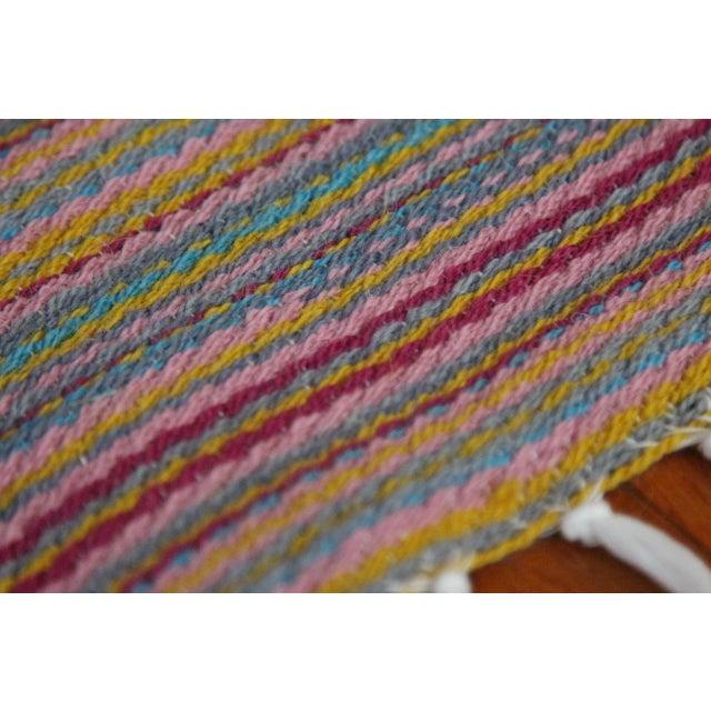 Flat Weave Wool Striped Pink Kilim Rug - 2'8'' x 7'6'' - Image 7 of 9