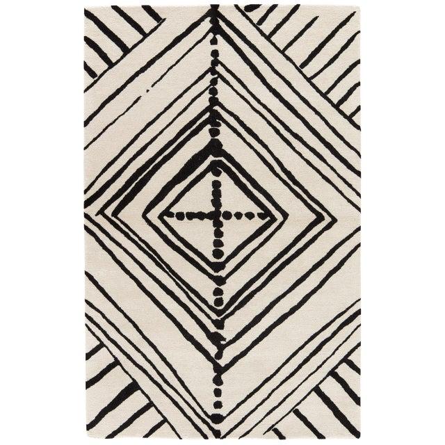Nikki Chu by Jaipur Living Gemma Handmade Abstract White/ Black Area Rug - 5′ × 8′ For Sale