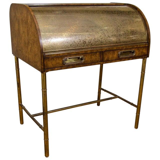 Hollywood Regency Design Mastercraft Roll Top Brass Bamboo Writing Desk For
