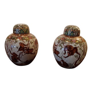 Contemporary Monkey Ginger Jars, Covered Urns - a Pair For Sale