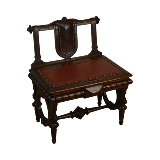 Geo. C. Flint & Co. Henry Bruner Antique Victorian Walnut Lift Top Bench For Sale
