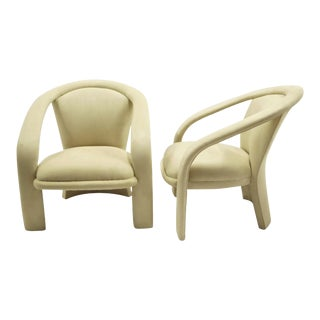 Pair of Space Age Carson's Pop Armchairs in New Off White Ultrasuede. For Sale