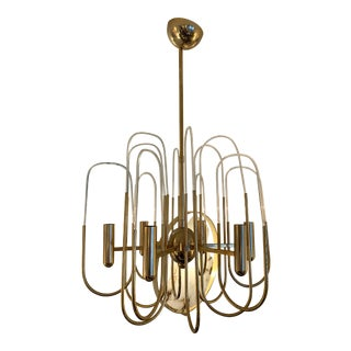 Chandelier Brass and Glass Astrolab by Sciolari. Italy, 1970s For Sale