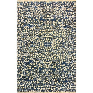 Ellie Modern Tequila Blue/Ivory Wool & Viscouse Rug - 4'2 X 5'7 For Sale