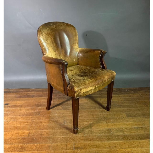 Early 1900s English Leather & Mahogany Library Chair For Sale - Image 11 of 11