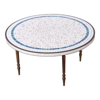 Italian Mid-Century Modern Mosaic Tile and Brass Cocktail Table, 1950s For Sale