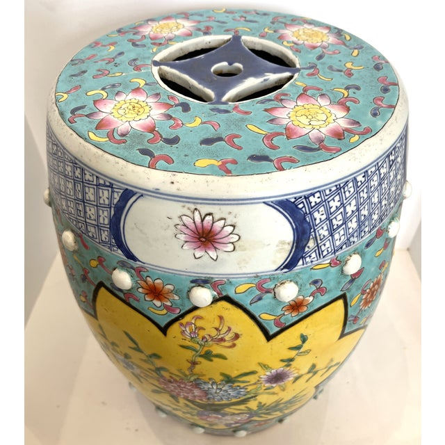 1920s Antique Chinese Chinoiserie Turquoise & Yellow Ceramic Garden Seat, A-Pair For Sale - Image 5 of 10