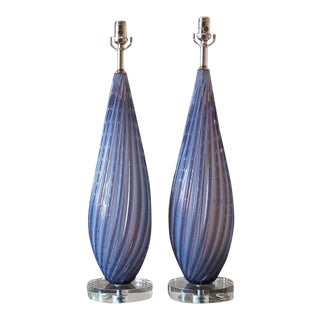 Lavender Opaline Murano Lamps by Barbini For Sale
