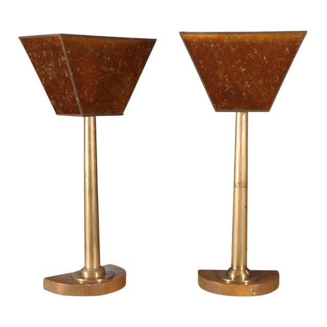 Machine Age Tall Bronze Lamps - a Pair For Sale