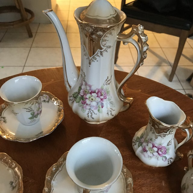 Stunning, 1960s Hand Painted Prussia Floral Chocolate Set, Reduced For Sale - Image 11 of 13
