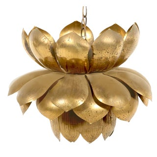 Feldman Large Brass Lotus Pendant For Sale
