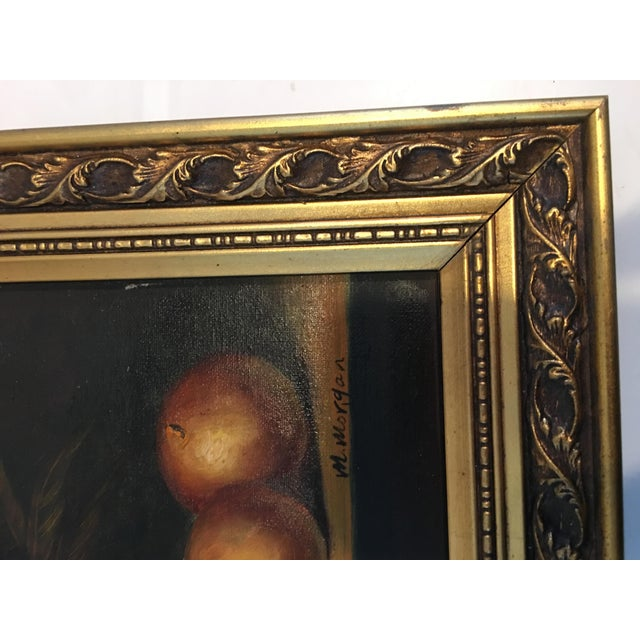 1960s 1960s Vintage M . Morgan Still Life Oil on Canvas Painting For Sale - Image 5 of 7
