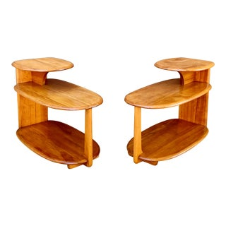 Vintage Heywood - Wakefield Three Tier Side Tables - a Pair For Sale