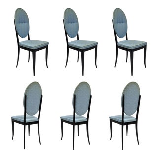 Set of 6 Italian Modernist Oval Back Black Lacquer Gio Ponti Style Dining Chairs For Sale