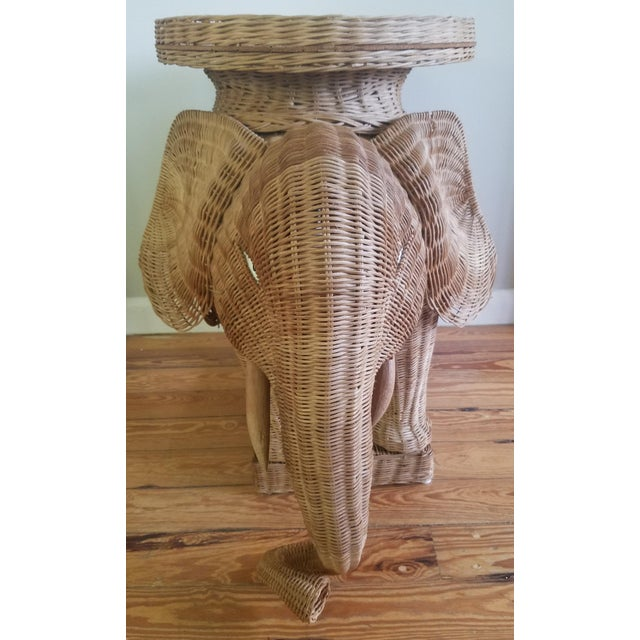 1974 Boho Chic Thailand Natural Wicker Elephant Table For Sale - Image 4 of 9