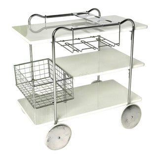 1950s Mid-Century Modern Chrome and Enamel Bar Cart For Sale