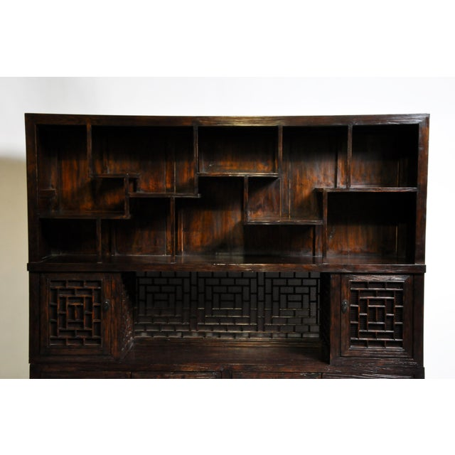 2010s Chinese Lattice Display Cabinet For Sale - Image 5 of 13