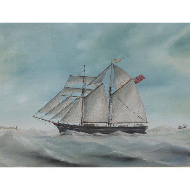 """Original Watercolor of the British Ship """"Kate"""" Out at Sea C.1890s to 1910 For Sale In San Francisco - Image 6 of 11"""