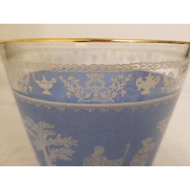 Mediterranean Vintage 1950s Jeanette Glass Co Blue Wedgewood Hellenic Grecian Ice Bucket For Sale - Image 3 of 8