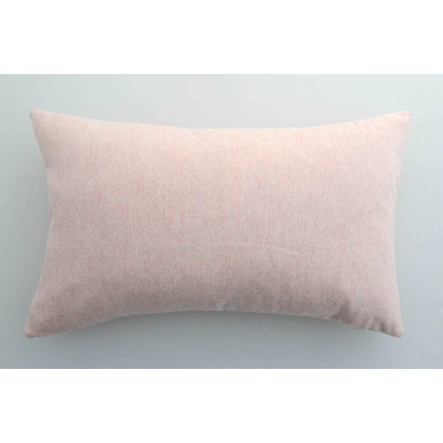FirmaMenta Italian Soft Virgin Wool Pink and White Lumbar Pillow For Sale - Image 4 of 4