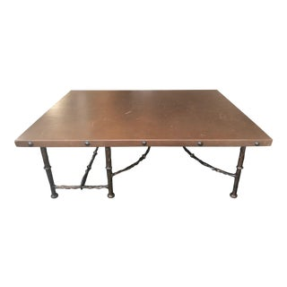 Helene Aumont Leather Topped Coffee Table--All Offers Considered! For Sale