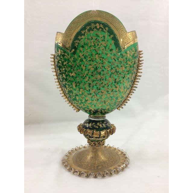 Green 19th Century Murano Glass Gilded Vase For Sale - Image 8 of 8
