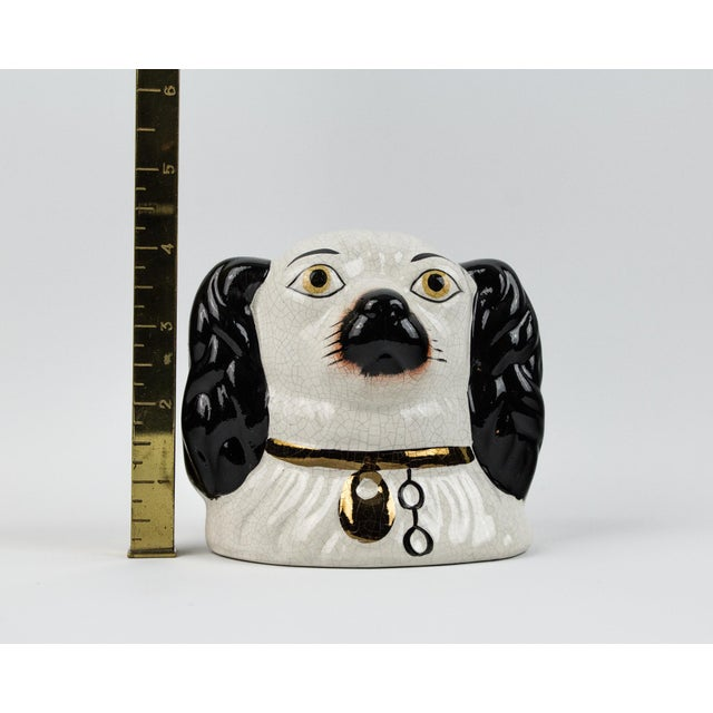 19th Century English Traditional Staffordshire Ceramic Dog Head Money Bank For Sale - Image 10 of 11