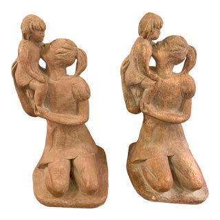 1965 Austin Productions Mother Holding Daughter Sculptures - a Pair For Sale