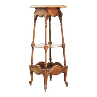 French Walnut Carved Three Tiered Stand For Sale