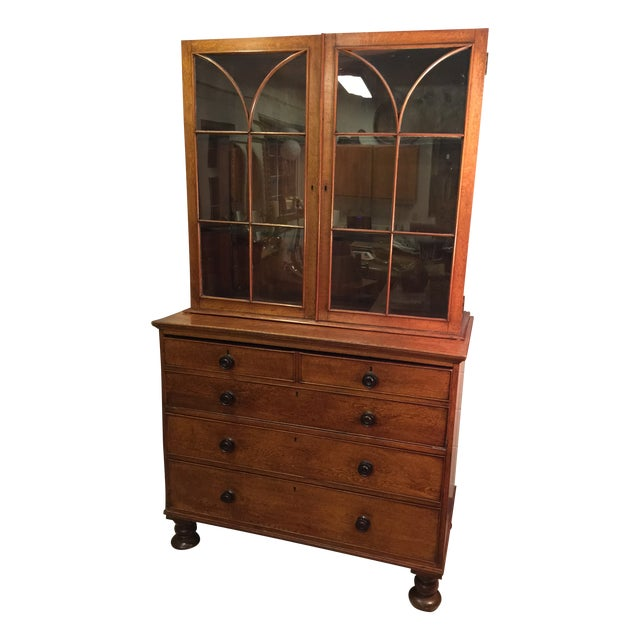 Period English Oak Break Front Secretary - Image 1 of 11